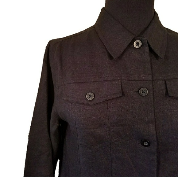amazing quality top quality united states NWOT, Black Linen Button